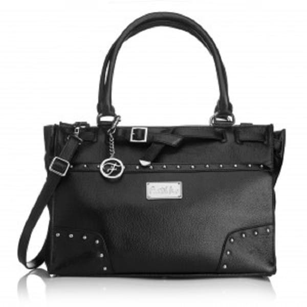 Erin Black Leather Silvertone Hardware Handbag