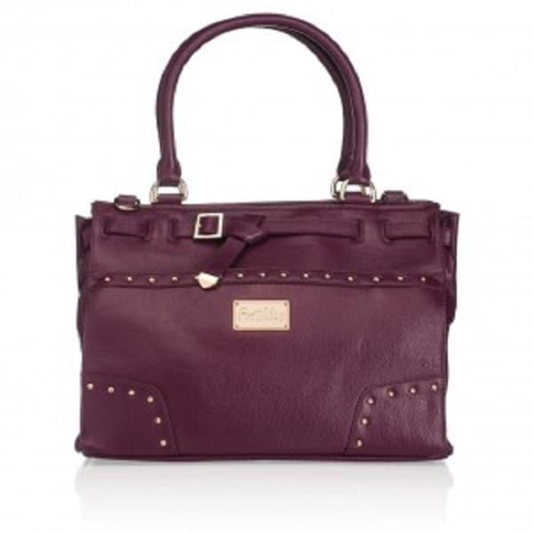 Erin Eggplant Leather Goldtone Hardware Handbag