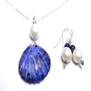 Blue Sodalite Summer Pearl Jewelry Set