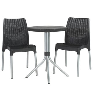 Keter Chelsea Graphite 3-piece Outdoor Dining Table and Chairs Furniture Set