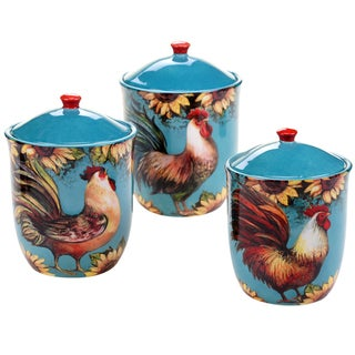 Certified International Sunflower Rooster 3 pc Canister Set
