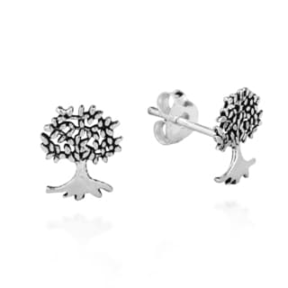 Mini Summer Love Tree Of Life Sterling Silver Post Earrings (Thailand)