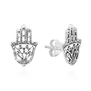 Tattoo Swirl Hamsa Hand Sterling Silver Stud Earrings (Thailand)