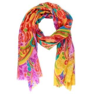 Saachi Women's Wool and Silk Blend Floral Paisley Scarf (India)