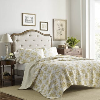 Laura Ashley Cielo Lemon Cotton Quilt Set