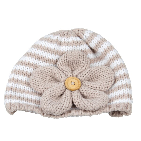 Medium Tan Striped Flower Beanie