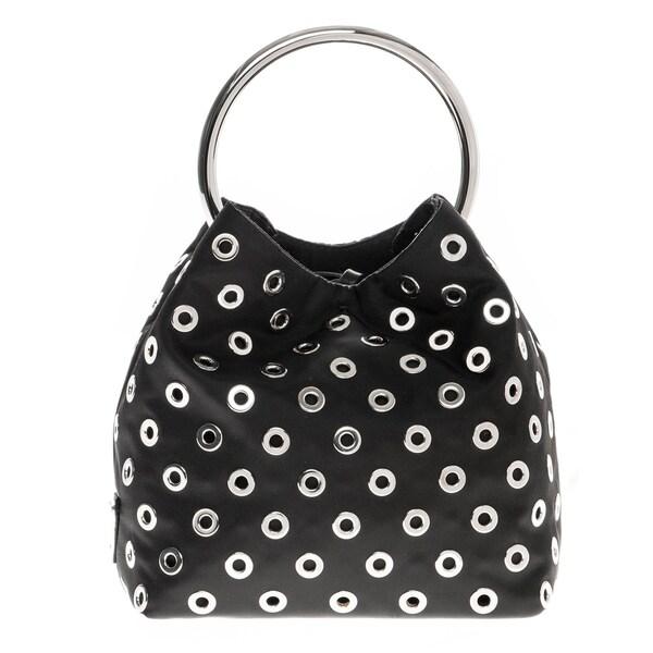 mens prada messenger bag - Prada Wristlet All-Over Grommet Steel Ring Handle Bag - 18412196 ...