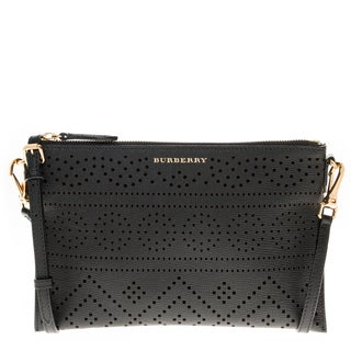 Burberry Black Laser-Cut Lace Grained Leather Clutch Bag