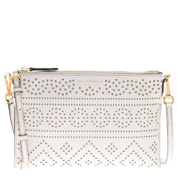 Burberry Ivory Laser-Cut Lace Grained Leather Clutch Bag