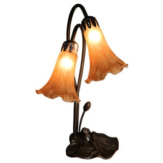 Rita 2-light Amber Glass 17-inch Lily Tiffany-style Table Lamp