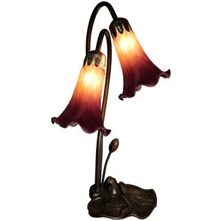 Eliana 2-light Glass 17-inch Lily Tiffany-style Table Lamp