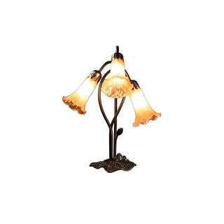 Kesha 3-light Amber Glass 17-inch Tiffany-style Table Lamp
