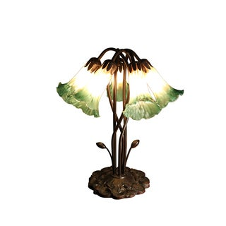 Reeya 5-light Amber and Green Glass 18-inch Tiffany-style Table Lamp