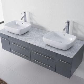 Virtu USA Augustine 59-inch Grey Double Bathroom Vanity Cabinet Set