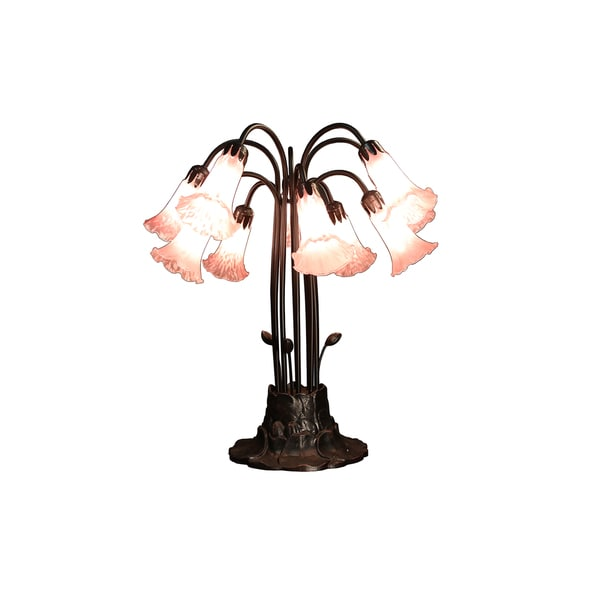 Mirah 10-light Pink Glass 24-inch Tiffany-style Table Lamp