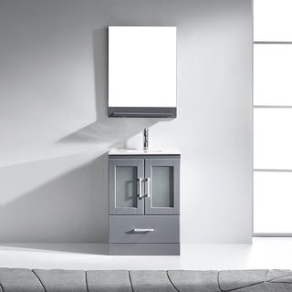 Virtu USA Zola 24-inch Single Bathroom Vanity Cabinet Set in Grey