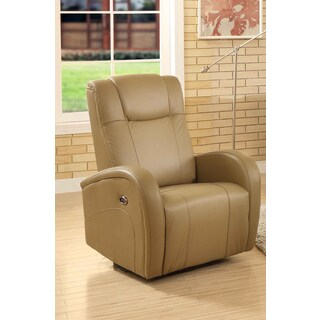 Easy Living Swiss Leather Swivel Power Glider Recliner with USB