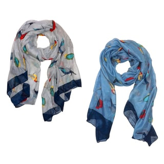 Peach Couture Cute Vintage Lightweight Finch Bird Scarf (Pack of 2)
