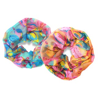 Peach Couture Bright Colorful Hibiscus Flower Infinity Loop Scarves (Set of 2)