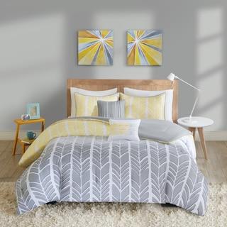Intelligent Design Kennedy Yellow/ Grey Comforter Set