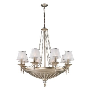 Elk Renee Aged Silver with Sheer White Fabric Shades 14-light Chandelier