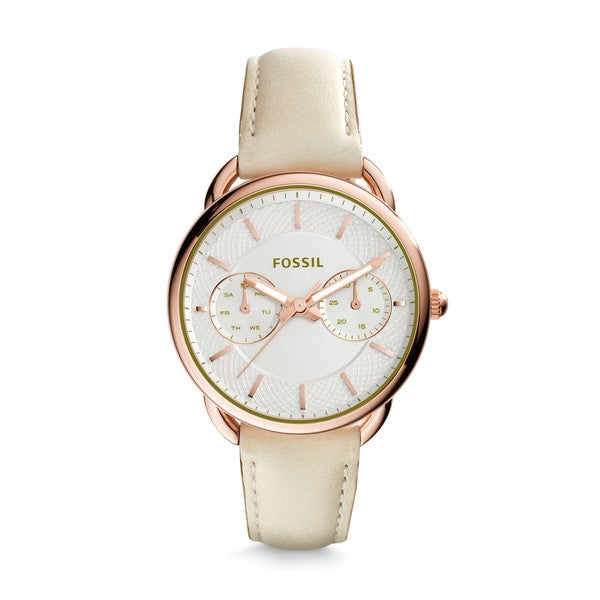 Fossil Women's ES3954 Tailor Multi-Function Silver Dial Tan Leather Watch