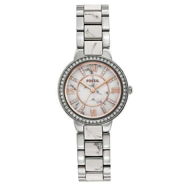 Fossil Women's ES3962 Virginia White/Grey Dial Two-Tone Stainless Steel Bracelet Watch