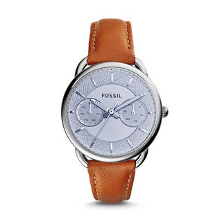 Fossil Women's ES3976 Tailor Multi-Function Silver Dial Brown Leather Watch