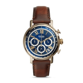 Fossil Men's FS5148 Buchanan Chronograph Blue Dial Brown Leather Watch