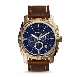 Fossil Men's FS5159 Machine Chronograph Blue Dial Brown Leather Watch