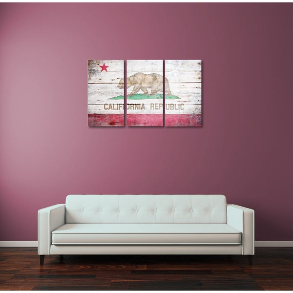 Flags 'Republic of California Flag' Triptych Gallery Wrapped Canvas Wall Art
