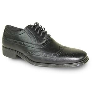 BRAVO Men Dress Shoe MILANO-1 Wingtip Oxford Black