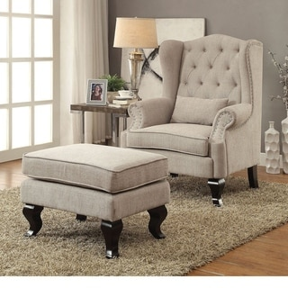 Furniture of America Irving Traditional 2-piece Tufted Wingback Armchair and Ottoman Set