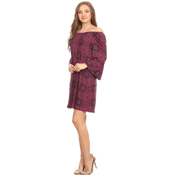 MOA Collection Women's Short Burgundy Dress