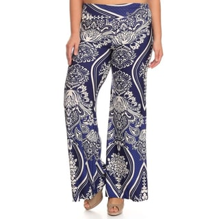 MOA Collection Women's Plus Size Navy Print Palazzo Pants