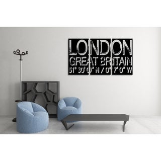 Who Art Now 'London Great Britain' Triptych Gallery Wrapped Canvas Wall Art