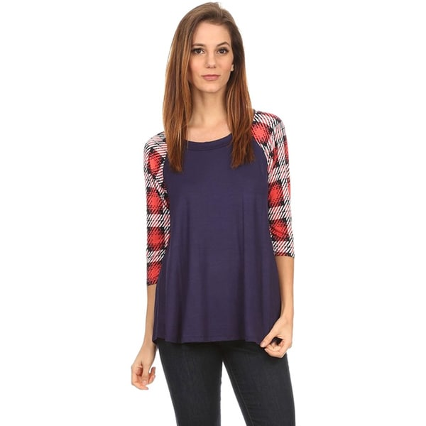 MOA Collection Women's Top with Plaid Sleeves 17656353