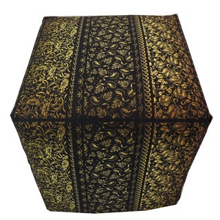 ArtHouse Innovations Floral Gold Pattern Cube 18x18 Ottoman Box
