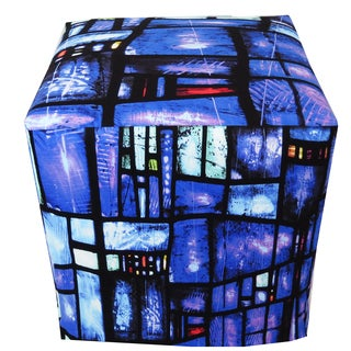 ArtHouse Innovations Blues Stained-Glass Cube 18x18 Ottoman Box