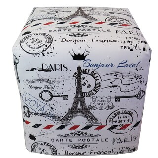 ArtHouse Innovations Paris Stamp Cube 18x18 Ottoman Box