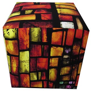 ArtHouse Innovations Reds Stained Glass Cube 18x18 Ottoman Box
