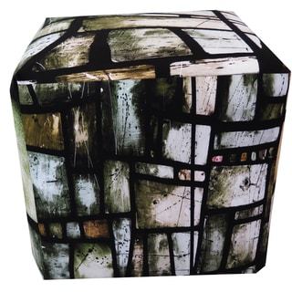 ArtHouse Innovations Greens Stained Glass Cube 18x18 Ottoman Box
