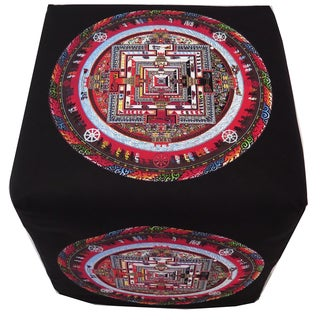 ArtHouse Innovations Tibetan Sand Mandala Cube 18x18 Ottoman Box