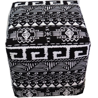 ArtHouse Innovations Black White Tribal Cube 18x18 Ottoman Box