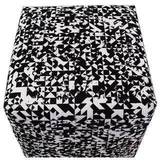 ArtHouse Innovations Black White Geometric Pattern Cube 18x18 Ottoman Box