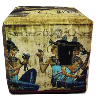 ArtHouse Innovations Egyptian Papyrus Art Cube 18x18 Ottoman Box