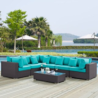 Gather 7-piece Outdoor Patio Sectional Set with Pillows