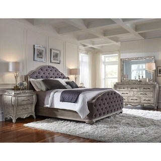 Celine  Piece Mirrored And Upholstered Tufted Queen Size Bedroom Set