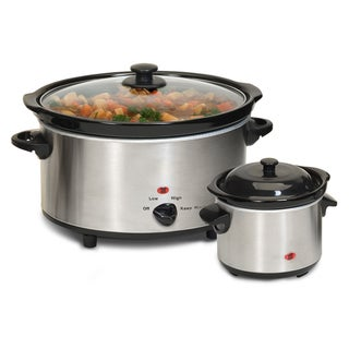 Stainless Steel 2-piece 5-quart Slow Cooker and Dipper Set