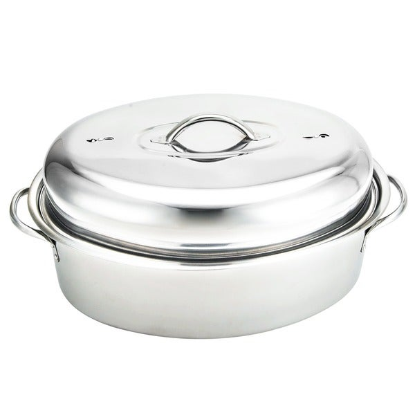 Stainless Steel Oval-shaped 16-inch Turkey Roaster